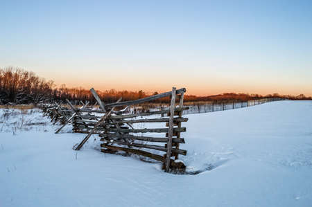 snow field: A Winter look with fresh snow of Monmouth Battlefield in Freehold New Jersey.