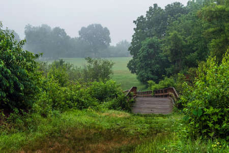 state park: A wooden bridge on a foggy morning in Monmouth Battlefield State Park in Freehold New Jersey.