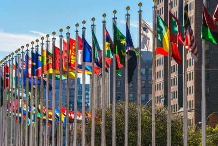 united nations: Flags from all countries outside of the UN building in Manhattan.