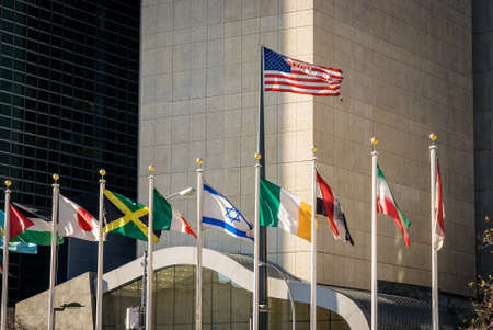 united nations: Flags of the world with the United States and Israel displayed prominently. Stock Photo