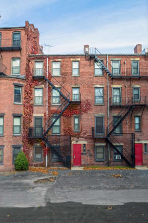 apartment: The exterior of some old apartment buildings in Boston Massachusetts. Stock Photo