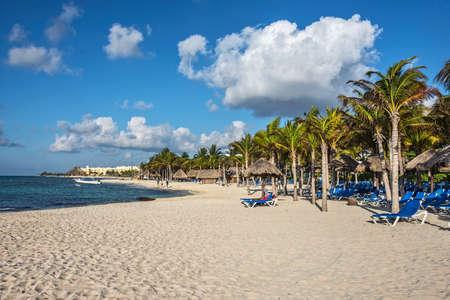 A typical Caribbean resort at Playa Del Carmen in Mexico.