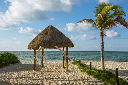 carmen: A beach hut on the sand along the coastline in Playa Del Carmen in Mexico. Stock Photo