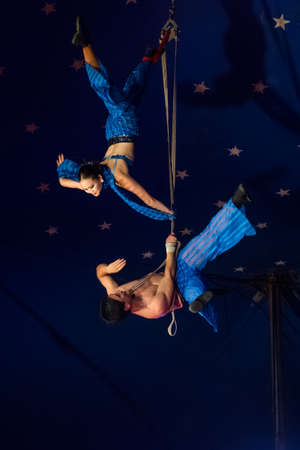 miller: OLD BRIDGE, NEW JERSEY -JUNE 8 -Rope acrobatics at the Kelly Miller Circus on June 8 2015 in Old Bridge New Jersey.