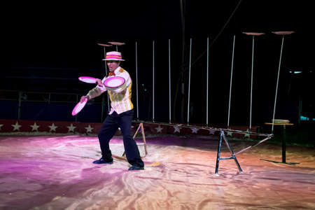 kelly: OLD BRIDGE, NEW JERSEY -JUNE 8 - A plate spinning act at the Kelly Miller Circus on June 8 2015 in Old Bridge New Jersey.
