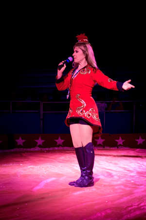 miller: OLD BRIDGE, NEW JERSEY -JUNE 8 - The Ringmaster, Rebecca Ostroff at the Kelly Miller Circus on June 8 2015 in Old Bridge New Jersey. Editorial