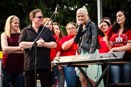 finalist: MANALAPAN, NEW JERSEY -JUNE 20 - Jax the American Idol finalist with local fans and Joey G at the Manalapan Day concert on June 20 2015 in New Jersey.