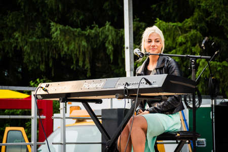 finalist: MANALAPAN, NEW JERSEY -JUNE 20 - Jax the American Idol finalist opened for  David Cassidy,the Manalapan Day concert on June 20 2015 in New Jersey.