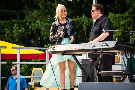 finalist: MANALAPAN, NEW JERSEY -JUNE 20 - Jax the American Idol finalist and Joey G at the Manalapan Day concert on June 20 2015 in New Jersey.