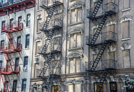 escapes: New York City fire escapes on these classic old apartment buildings on the East Side.