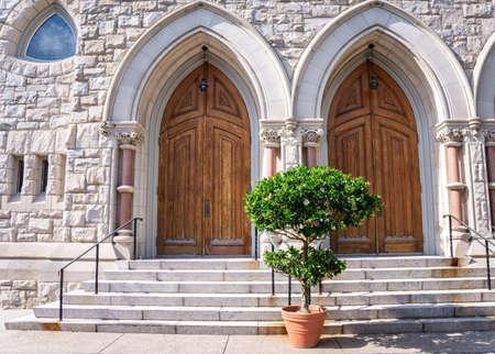 evangelist: The entrance to the historic St. Johns the Evangelist Catholic church in Lambertville NJ.