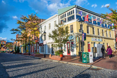 fells: BALTIMORE-OCTOBER 18: The Waterfront Promenade at Fells Point, a popular tourist destination on October 18 2015 in Baltimore.