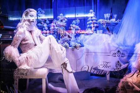 holiday display: NEW YORK-DECEMBER 3: Winter Palace is the theme of the Saks holiday window display on 5th Ave., December 3 2015 in New York City. Editorial