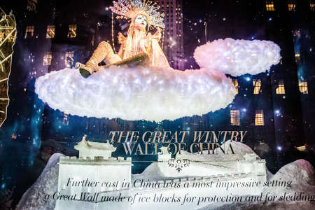 5th: NEW YORK-DECEMBER 3: Winter Palace is the theme of the Saks holiday window display on 5th Ave., December 3 2015 in New York City. Editorial