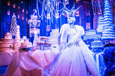 ave: NEW YORK-DECEMBER 3: Winter Palace is the theme of the Saks holiday window display on 5th Ave., December 3 2015 in New York City. Editorial