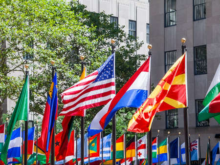 center city: Colorful flags of all nations on display in Rockefeller Center in New York City.