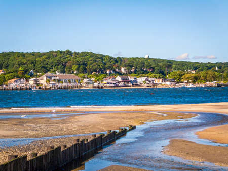 shorelines: A view across Sandy Hook Bay towards Atlantic Highlands along the New Jersey coast.