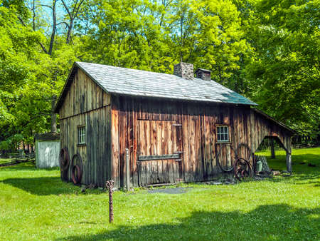 warren: An old wooden log cabin in Millbrook Village in Warren County New Jersey.