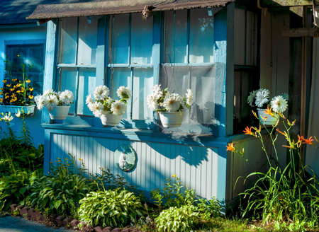 vacation home: A quaint exterior of this vacation home in Ocean Grove New Jersey. Stock Photo