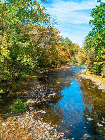 creek: A fall view of Tohickon Creek in Pt Pleasant, Bucks County pennsylvania.