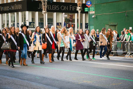 NEW YORK-MARCH 17-The The various lovely Irish Rose ladies march in the St Patrick�s Day Parade on March 17 2016 in New York City.