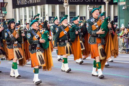 NEW YORK-MARCH 17- Marchers with bagpipes dressed in kilts march in the St Patrick�s Day Parade on on 5th Ave in New York City.