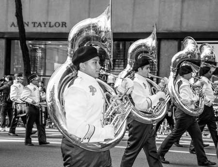 school band: NEW YORK-MARCH 17-Dr Phillips High School Band of Orlando Florida in the St Patrick�s Day Parade on March 17 2016 in New York City.
