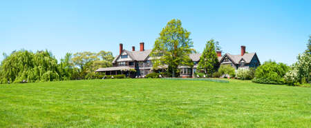 long island: OAKDALE, NEW YORK -MAY 4 - A panoramic view of the Manor House in Bayard Arboretum State Park in Oakdale on May 4 2010 in Long Island.