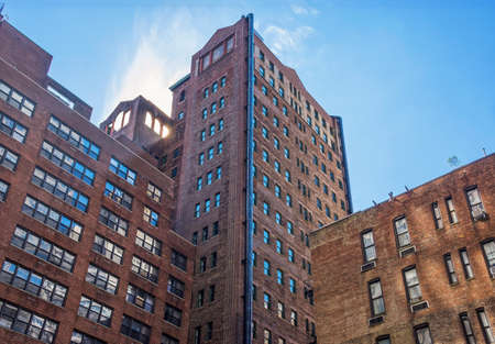 brownstone: Older brownstone apartment building on the East Side of Manhattan. Stock Photo