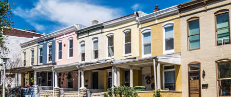 colorfully: Colorfully painted row homes in Hampden a popular neighborhood in Baltimore. Editorial