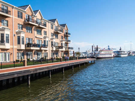 townhouses: BALTIMORE-APRIL 23 - Luxury waterfront townhouses along the Baltimore Waterfront Promenade on April 23 2016 in Baltimore Maryland.