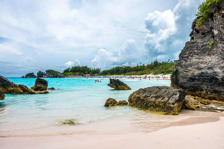 ocean and sea: Rock formations and aqua color water are typical scenes at Horseshoe Bay Stock Photo