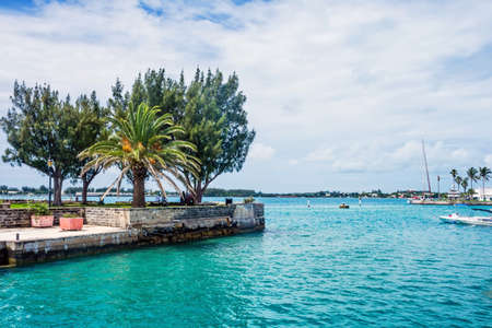 marina water: The turquoise  colored water of St. Georges Harbor in Bermuda.