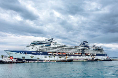 dockyard: KINGS WHARF,BERMUDA, MAY 25 - The Celebrity Summit cruise ship docked at the Royal Naval Dockyard on May 25 2016 in Bermuda. Editorial