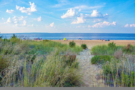 A trail leading to the Keansburg Beach, a free beach along the Jersey shore with a distant view of Manhattan.
