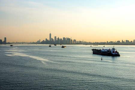 hazy: A hazy morning view of the New York Harbor. Stock Photo