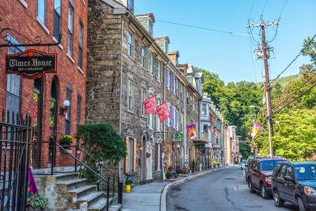 JIM THORPE, PENNSYLVANIA, - SEPTEMBER 28: Historic row homes with shops on Race St. on September 28 2016 in Jim Thorpe Pennsylvania. Editorial