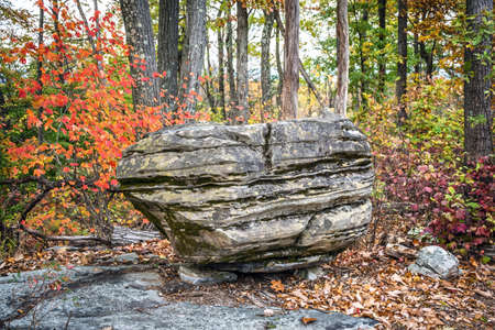A large glacial boulder on the trail in the Autumn woods of Jenny Jump State Forest in New Jersey.