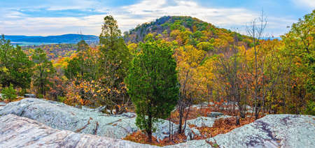 warren: A panoramic view from the summit trail of Jenny Jump Forest in Warren County New Jersey.