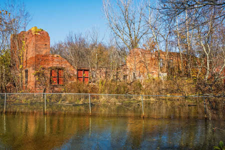 Abandoned factory buildings from the nineteenth and early twentieth century in historic Smithville Park in Burlington County NJ.