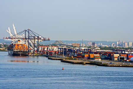 BAYONNE, NEW JERSEY- MAY 29 - A view of the Global Container Terminal from the New York Harbor on May 29 2016 in Bayonne New Jersey.