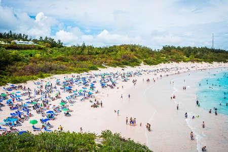 A scenic view of Horseshoe Bay Beach in Southampton Parish Bermuda. Imagens