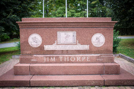 JIM THORPE, PENNSYLVANIA, - SEPTEMBER 28: The Jim Thorpe grave monument where he is buried on September 28 2016 in Jim Thorpe Pennsylvania.