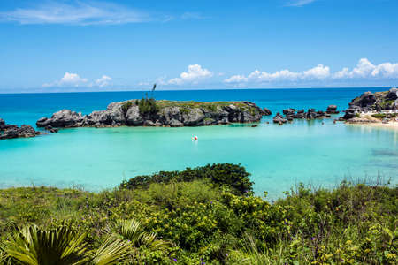 turquoise water: Turquoise colored water of Tobacco Bay, a popular beach in Bermuda.