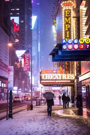 NEW YORK-FEBRUARY 9 - Fresh snow falling early morning along 42nd St on February 9 2017 in New York City.