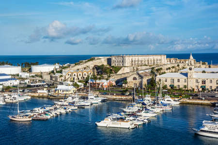 KINGS WHARF, BERMUDA, MAY 27 - A scenic view of The Royal Naval Dockyard and the historic Casemates Prison on May 27 2016 in Kings Wharf Bermuda.
