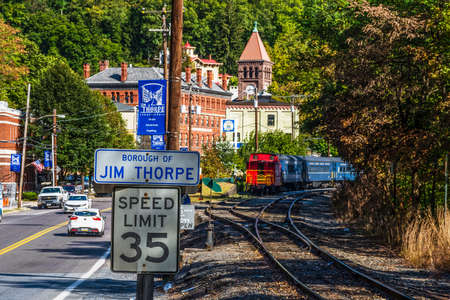 forest railroad: JIM THORPE, PENNSYLVANIA, - SEPTEMBER 28: Railroad tracks along Route 209 lead into Scenic Jim Thorpe on September 28 2016 in Pennsylvania. Editorial
