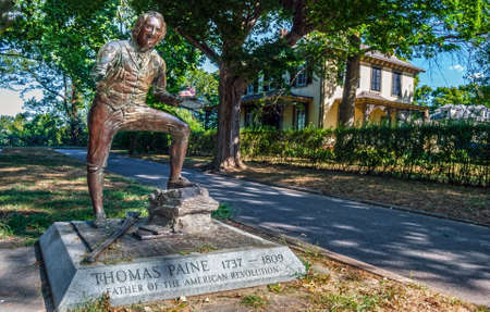 "BORDENTOWN, NEW JERSEY - SEPTEMBER 3 - The historic statue of Thomas Paine, author of ""Common Sense"" important to the American Revolution on September 3 2010 in New Jersey."