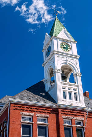 BORDENTOWN, NEW JERSEY - SEPTEMBER 3 - The old clock tower, dedicated to William F. Allen, designer of Standard Time on September 3 2010 in New Jersey.
