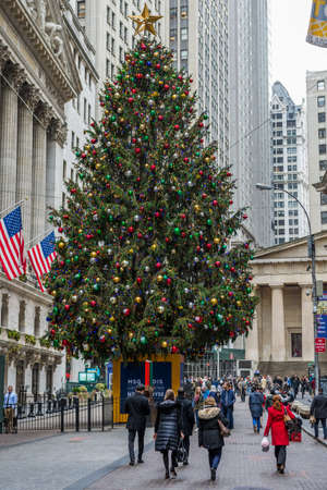 NEW YORK-DECEMBER 05: The nicely decorated Wall St Christmas tree as seen on December 5, 2017 in lower Manhattan.